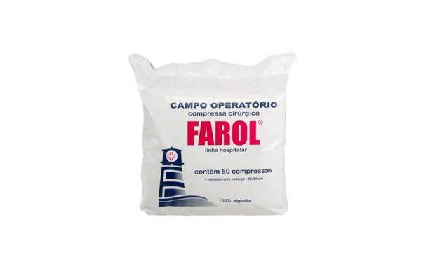 embalagem compressa cirúrgica campo operatório nao esteril 45x50 pacote com 50 unidades marca farol