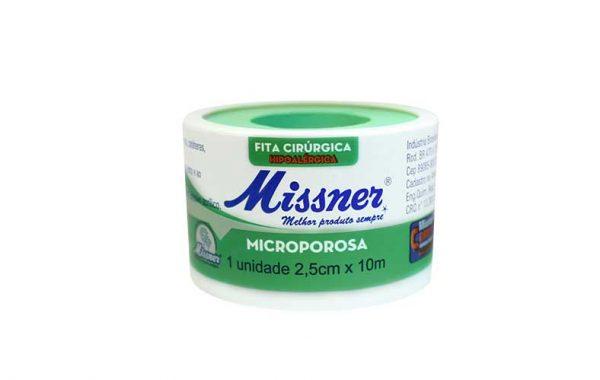 fita mircropore 2,5 cm x 10m ou 5cmx10 na cor branca missner